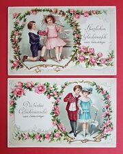 2 x Super Prägedruck Litho AK GEBURTSTAG 1915 Kinder mit Blumen   ( 22275