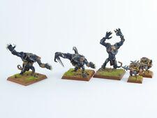3 x Rattenoger - Rat Ogre + 2 x Treiber der Skaven - bemalt Metall -