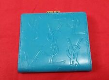 A-1252 YSL Yves Saint Laurent A Metal Clip Blue Leather Bifold Wallet Authentic