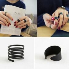 New Women Jewelry Punk Black Stack Plain Above Knuckle Ring Set Band Midi