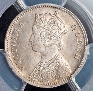 1862, India (British), Queen Victoria. Nice Silver 1/4 Rupee Coin. PCGS MS-64!