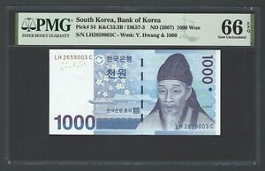 South Korea 1000 Won ND(2007) P54  Uncirculated Grade 66
