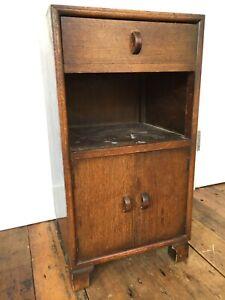 Herbert E Gibbs Autograph wood bedside table cupboard cabinet vintage antique