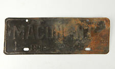 Vintage 1955 Macon NC Rustic City License Plate Small Town pop. 119 Charred