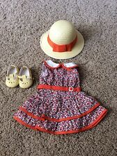 Displayed Only American Girl Kit's Retired SCOOTER OUTFIT ~ Dress, Hat & Shoes!!
