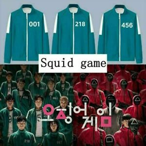SQUID GAME Halloween Costume Adults Man Woman Tracksuit Green Red Set