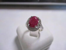 Goegeous Large Stone Sterling Silver Ruby Ring with CZ's real gems size 8