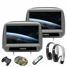 "Dual Gray 9"" Screen Panel Car Headrest Monitor DVD Player HDMI Game CD+Headphone"