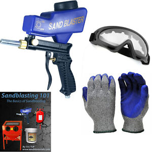 Portable Sandblaster Gun & Soda Blaster Kit: Gloves, Goggles, Nozzle