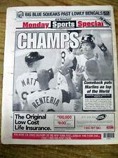 1997 NY newspaper FLORIDA MARLINS win baseball WORLD SERIES vs Cleveland Indians