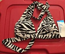 WOMEN ANIMAL PRINT ZEBRA CATALINA HALTER VIKINI TOP BATHING SUIT SWIMWEAR Small