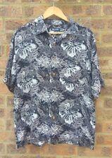 Mens Vintage black Hawaiian hibiscus shirt size M by Puritan