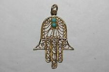14K Yellow gold Hamsa Charm Pendant with Turquoise Hebrew Jewish Arab Lucky 30mm