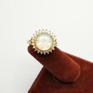 Sz 9.75 KIRKS FOLLY Ring Seaview Moon Rhinestones Jewelry Astrology Fantasy