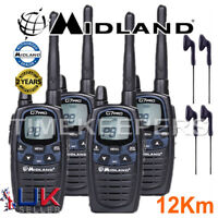 12Km Midland G7 Pro Dual Band Walkie Talkie Two Way PMR 446 Radio + 4 Headsets