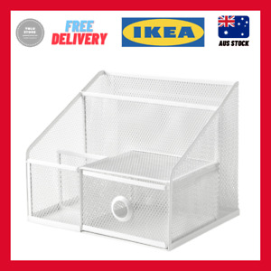 IKEA DRONJONS Desk organiser, white 25x20 cm compact storage stationery home