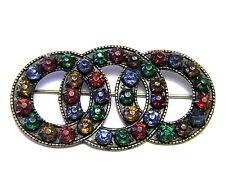 Art Deco Vintage Interlocking Circle Rhinestone Brooch Pin