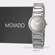 Authentic Movado Ladies Valor Tungsten Carbide Silver Tone Dial Watch 0604774