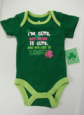 St Patrick's Day One Pc Green Shirt with Snaps Newborn Cotton /Polyester  NWT
