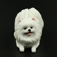 Cute Mini Pomeranian Dog Figurine Model Home Car Dashboard Ornament Decor White