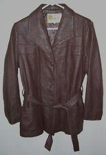 Vtg. Women's Deer Skin Leather Jacket W.B. Place Dark Brown Belted 38