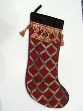 Red Brown Gold Velore Tassel Lined Christmas Stocking Mantle Holiday Decoration
