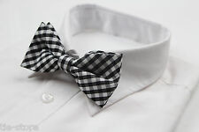 MENS GINGHAM BLACK WHITE BOW TIE Pretied Adjustable Plaid Check Wedding Races