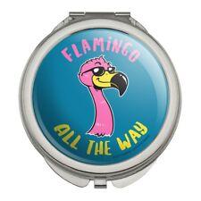 Flamingo All the Way Funny Humor Compact Travel Purse Handbag Makeup Mirror