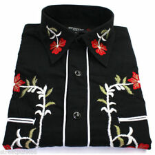 Camicie casual e maglie da uomo a manica lunga floreale in misto cotone