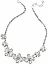 NEW CHARTER CLUB Silver Tone Floral Crystal Collar Necklace