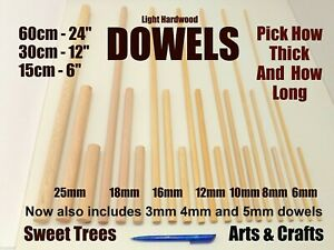 QUALITY WOODEN DOWELS 15cm 30cm or 60cm Craft Pole Stick Sweet Tree * FREE POST!