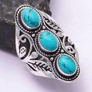 Turquoise Ethnic Handmade Three Stone Ring Jewelry US Size-6.5 AR 42480