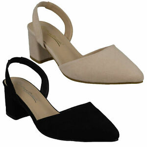 ANNE MICHELLE LADIES SLNGBACK SLIP ON BLOCK HEELWIDE FIT EVENING SHOES F9R0067