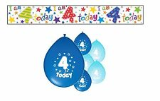 4th BIRTHDAY PARTY PACK DECORATIONS BANNER BALLOONS (SE.B.1)