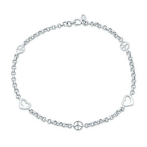Peace Love Interlocking Hearts Anklet Ankle Bracelet Sterling Silver