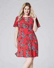 Simply Be Womens Ladies Red Floral Print Tea Dress Size 10