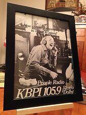 """2 FRAMED ORIGINAL & RARE KBPI 105.9 FM DENVER RADIO STATION """"PROMO ADS"""""""