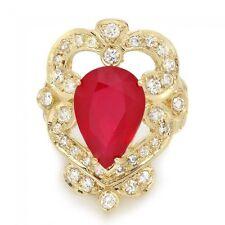 Certified Jaqu De Lili 14K Yellow Gold 7.50CT Ruby 0.95CT Diamond Ring Sz 7.75