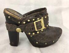 Vince Camuto Christies Brown Distressed Studded Heel Mule Women's Us 8 B