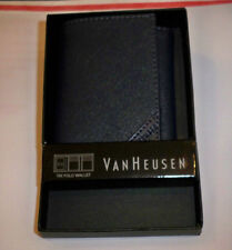 VAN Heusen Dark Midnight Navy Tri Fold Wallet Bill Fold PVC/Leather Trim