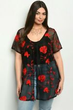Sexy romantic BLACK/Red Floral LACE BACK WOMEN'S PLUS SIZE Tie CARDIGAN 1X-2XL