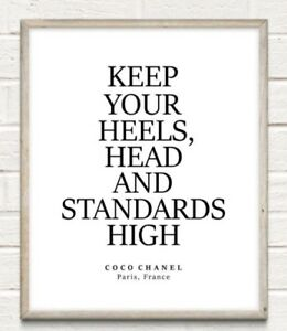 Coco Chanel Head Heels High Fashion Typography Print Poster Unframed Home Quote