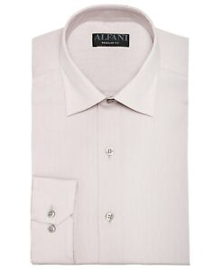 Alfani Mens Dress Shirt Sand Beige USA 18 1/2 Button-Front Regular-Fit $65 053
