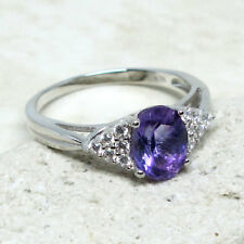 AWESOME 1.5 CT GENUINE AFRICAN AMETHYST 925 STERLING SILVER RING SIZE 5-10