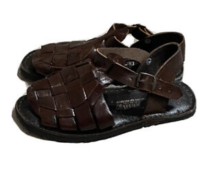 Mexican Huarache Handmade Leather Sandals Open Toe Recycled Tire Soles Boys sz4