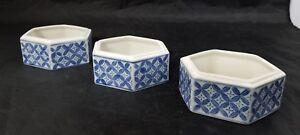 "Porcelain Trinket Box Set of 3 Blue & White Pentagon 3""×1.25"" Jewelry Dish"