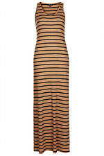 Topshop stripe ribbed maxi dress UK 8 in Tan ( New with tag )