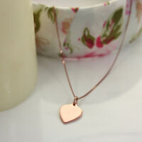 """9ct Rose Gold Engravable Heart Necklace 16 18 20 """" Inches"""
