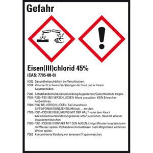 GHS-Etikett Eisen(III)chlorid 45% GefStoffV/GHS/CLP Folie 52x74mm VE=10