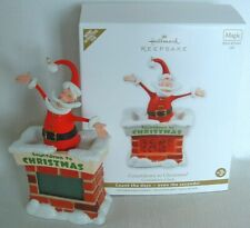 SANTA COUNTDOWN ORNAMENT Christmas CLOCK Chimney HALLMARK Magic Motion Battery